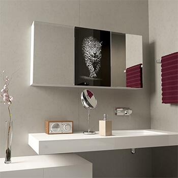 Spiegelschrank mit Lasermotiv