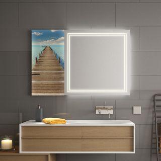 Spiegel mit Glasbild Steg – Bild 1