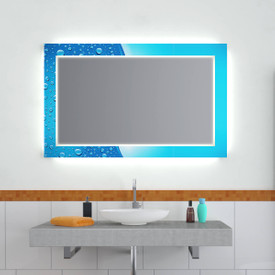 Design Effekt Spiegel Blau und Weiß