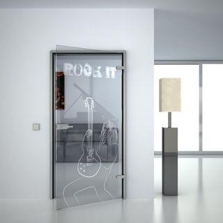 Produktbild 1 Glastür gelasert mit Motiv Rock it by Lionidas] - Die Glastür mit dem Motiv