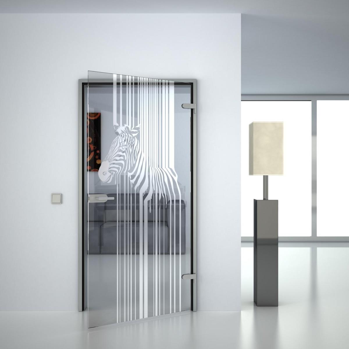 Glastür Zebra Barcode
