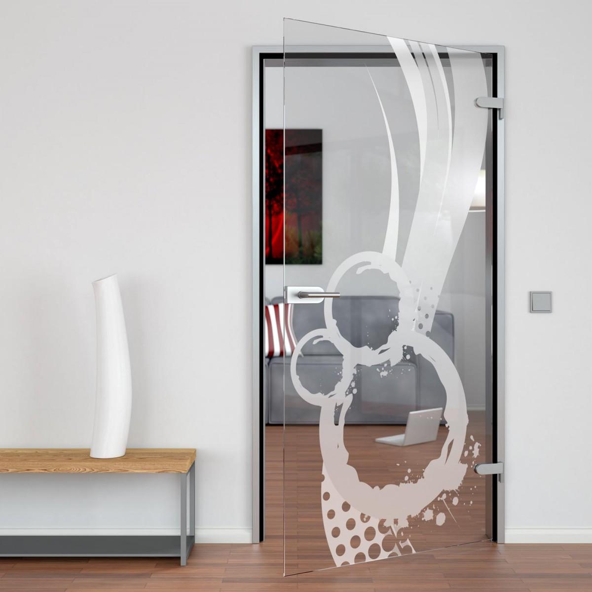 Glastür gelasert mit Motiv Abstrakta