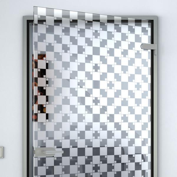 """Produktbild 2 Glastür gelasert mit Motiv Kacheln by Lionidas - Die Glastür mit dem Motiv """"Kacheln"""" erweist sich als sehr trickreiche Glastür mit vollflächigem Muster."""