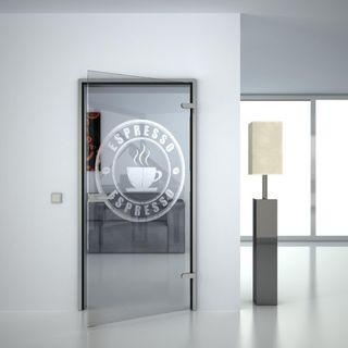 Glastür gelasert mit Motiv Espresso (989703710) ab 359,00 EUR von Lionidas auf glastüren-shop.com
