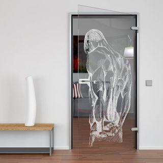 Produktbild 1 Glastür gelasert mit Motiv Körper by Lionidas] - Setzen Sie Ihr Bad wirkungsvoll in Szene! Die Glastür Körper kombiniert Design und Raumtrennung in einem!
