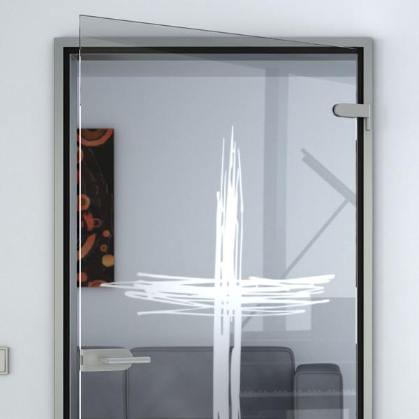 Produktbild 2 Glastür gelasert mit Motiv Kreuz by Lionidas - Ein zeitloses Motiv von einem Kreuz, zentriert auf einer Glastür.