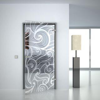 Glastür gelasert mit Motiv Wellen II (989703724) ab 559,00 EUR von Lionidas auf glastüren-shop.com