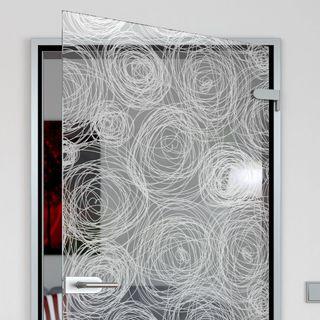 Glastür gelasert mit Motiv Muster Kreise Detail