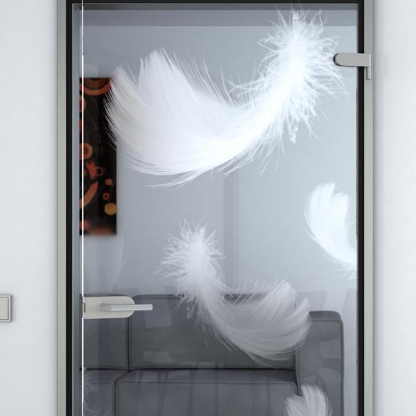 Produktbild 2 Glastür gelasert mit Motiv fallende Federn by Lionidas - Die Glastür mit dem Motiv