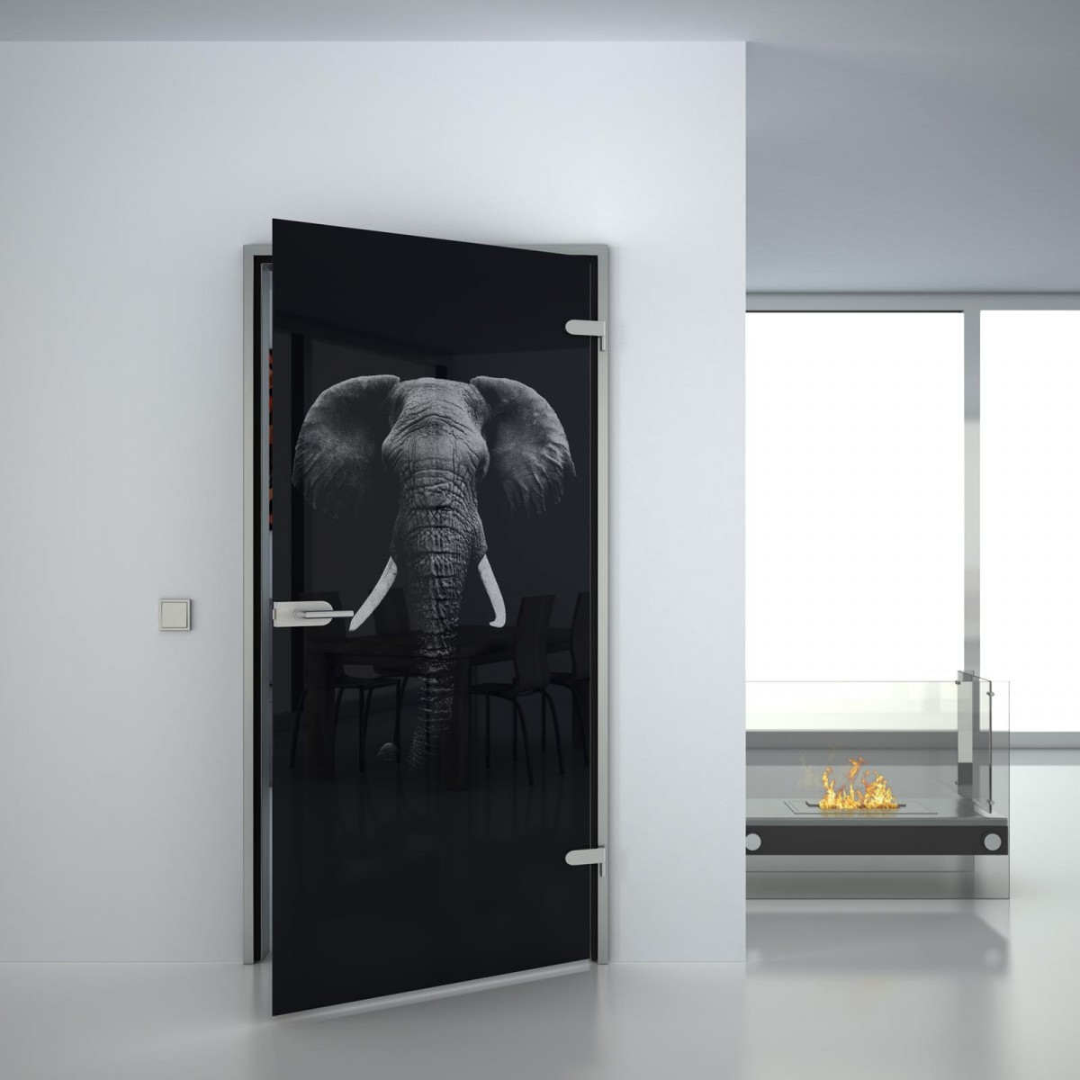 Glastür lackiert mit Lasermotiv Elefant