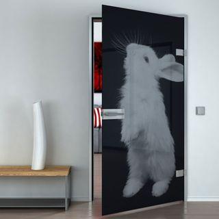 Produktbild 1 Glastür lackiert mit Lasermotiv Kaninchen by Lionidas] - Die Glastür mit dem Motiv