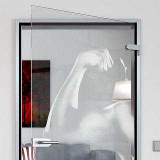 Glastür gelasert mit Motiv Muscle Detail