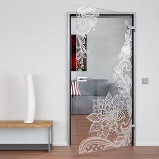 Produktbild 1 Glastür gelasert mit Motiv Floralish by Lionidas] - Die Glastür mit dem Motiv