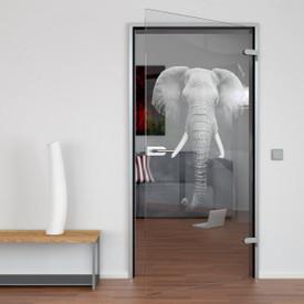 Glastür gelasert mit Motiv Elefant