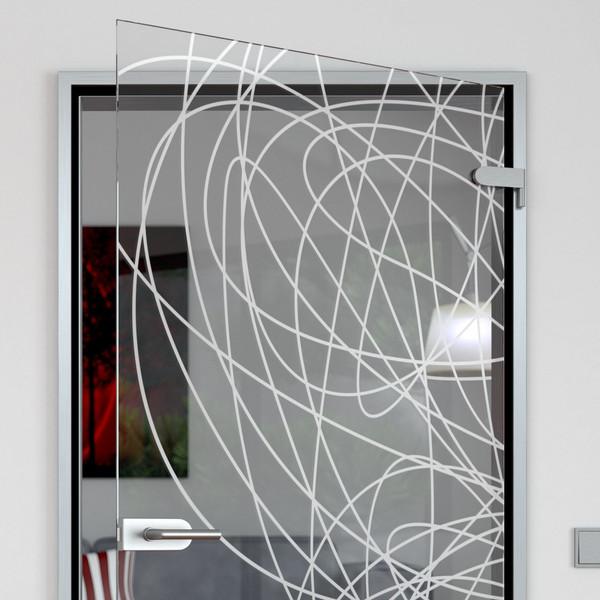 Produktbild 2 Glastür gelasert mit Motiv Lines by Lionidas - Viele hauchdünne Linien zieren die Glastür mit dem Motiv
