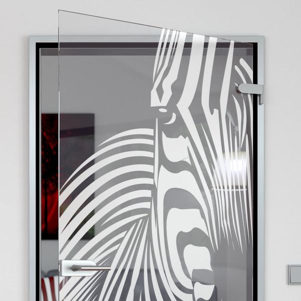 Produktbild 2 Glastür gelasert mit Motiv Zebra  by Lionidas - Sie sind ein Tierliebhaber und wollen etwas neues in Ihrer Wohnung, dann ist die Glastür mit dem Zebra-Motiv das Richtige für Sie.