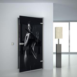 Produktbild 1 Glastür lackiert mit Lasermotiv Inocentemente by Lionidas] - Bei der Lacobel Glastür mit dem Motiv