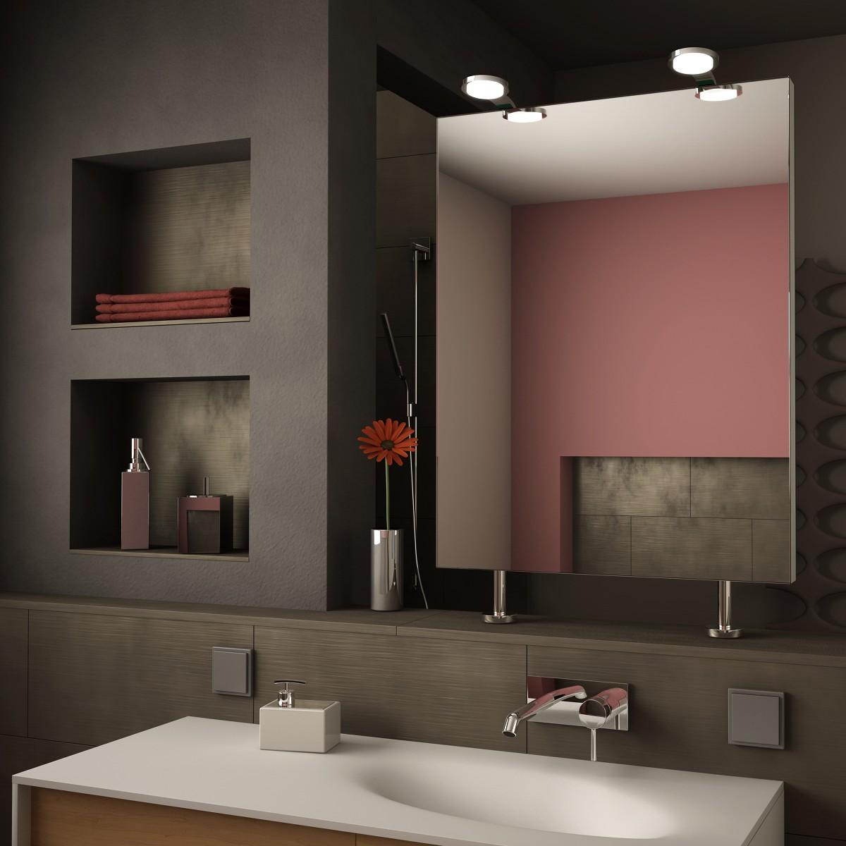 Spiegel Raumteiler mit Leuchte Sara