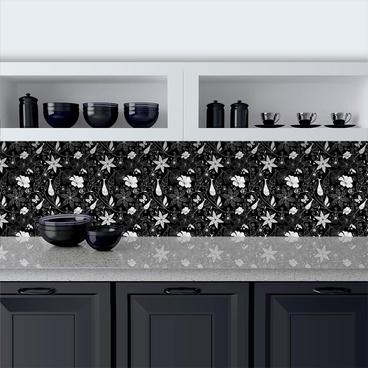 Küchenrückwand aus Glas Black and White