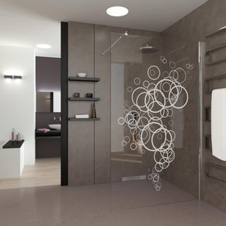 Produktbild 1 Walk In Dusche Abstract Bubbles by Lionidas] - Die Walk-In Dusche Abstract Bubbles haucht Ihnen und Ihrem Bad neue Lebenskraft ein!