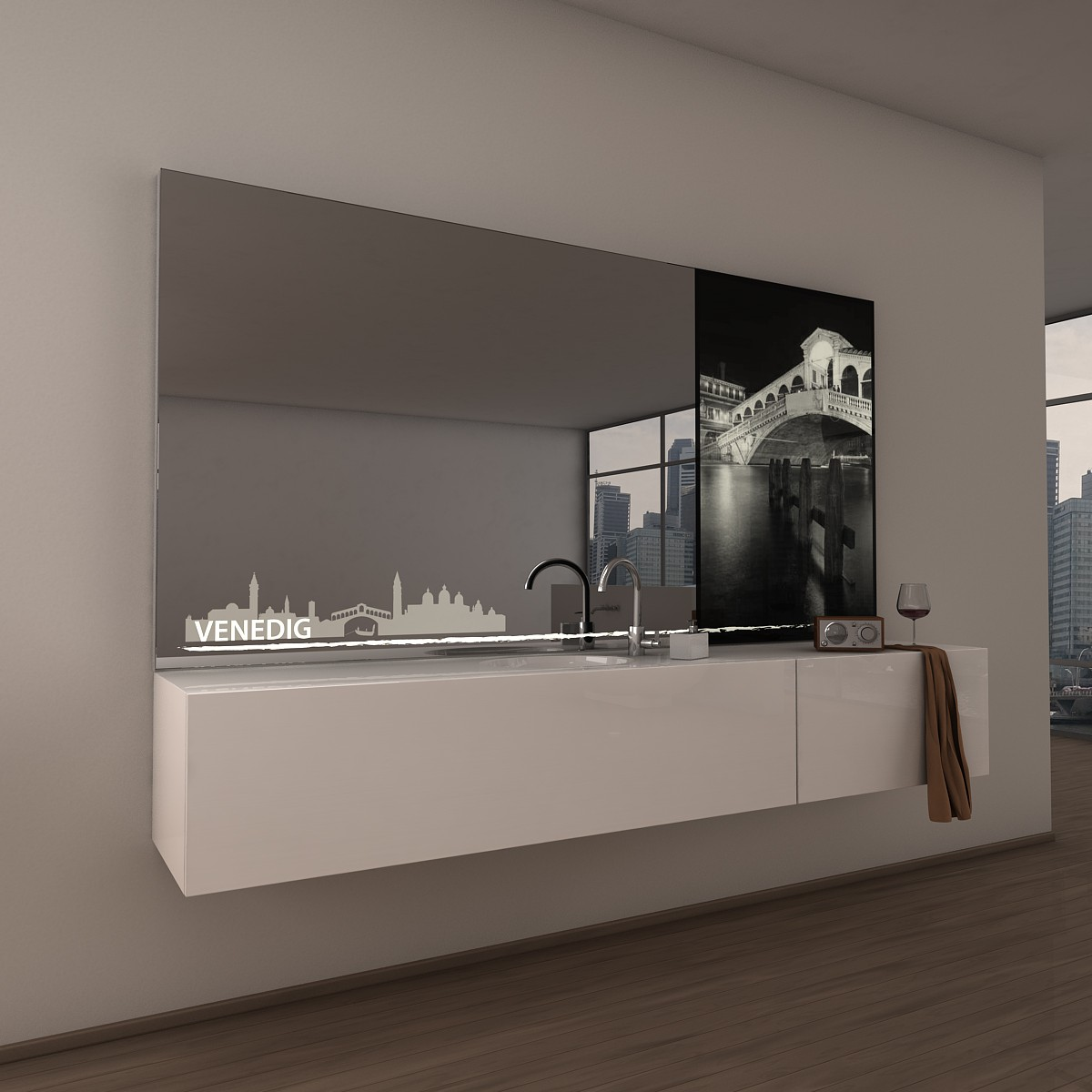 Teil-Lack-Wandspiegel Venedig
