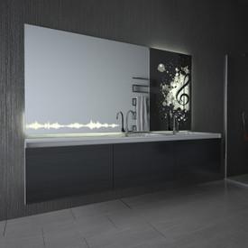 Teil-Lack-Spiegel mit LED More beats