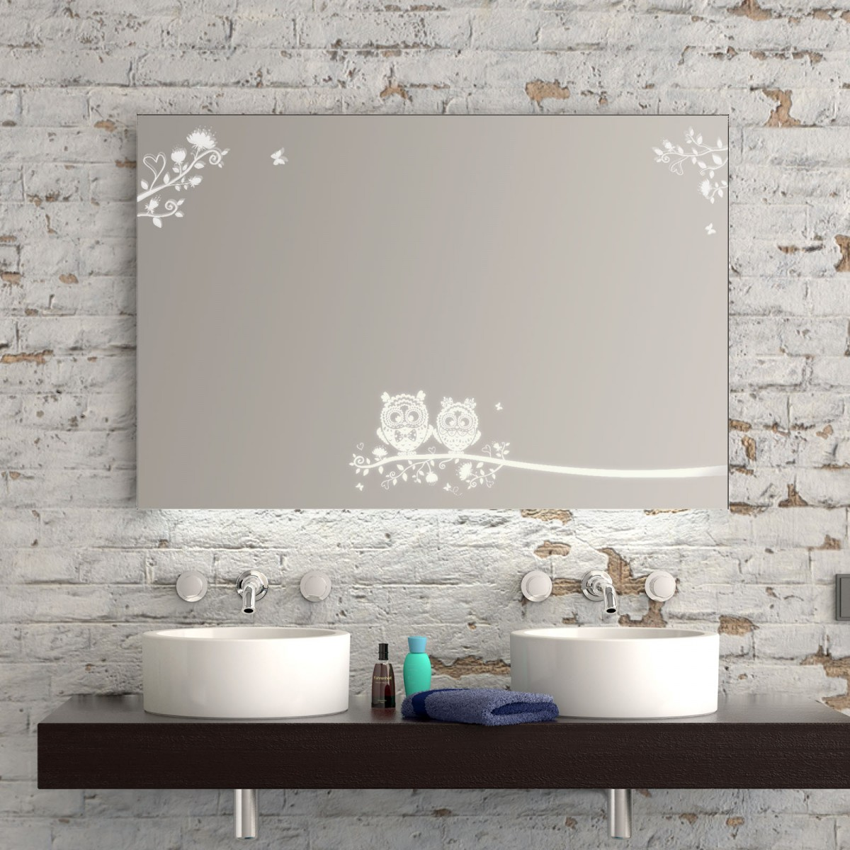 Badspiegel LED mit Motiv Eulen