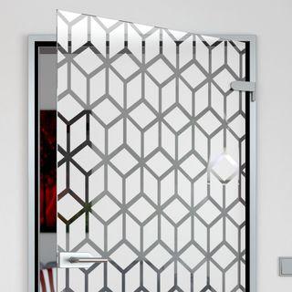 Glastür satiniert mit Motiv Cubes Detail