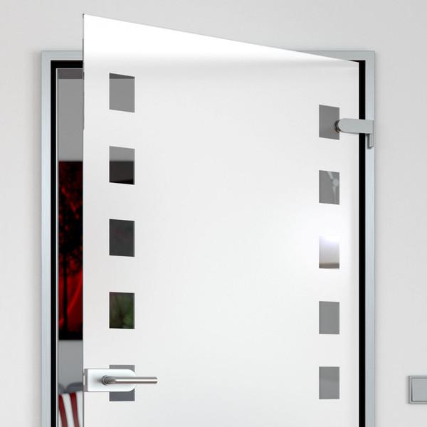 Produktbild 2 Glastür satiniert mit Motiv Quadrate by Lionidas - Mit der Glastür Quadrate holen Sie sich ein Accessoire mit geometrischem Design in Ihre vier Wände.