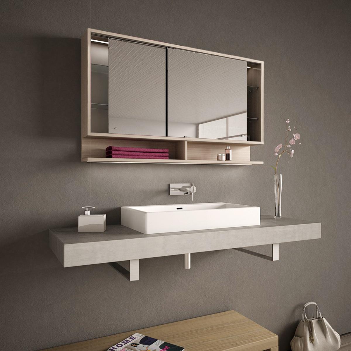Spiegelschrank Mit Schiebeturen Und Led Masima 989705218