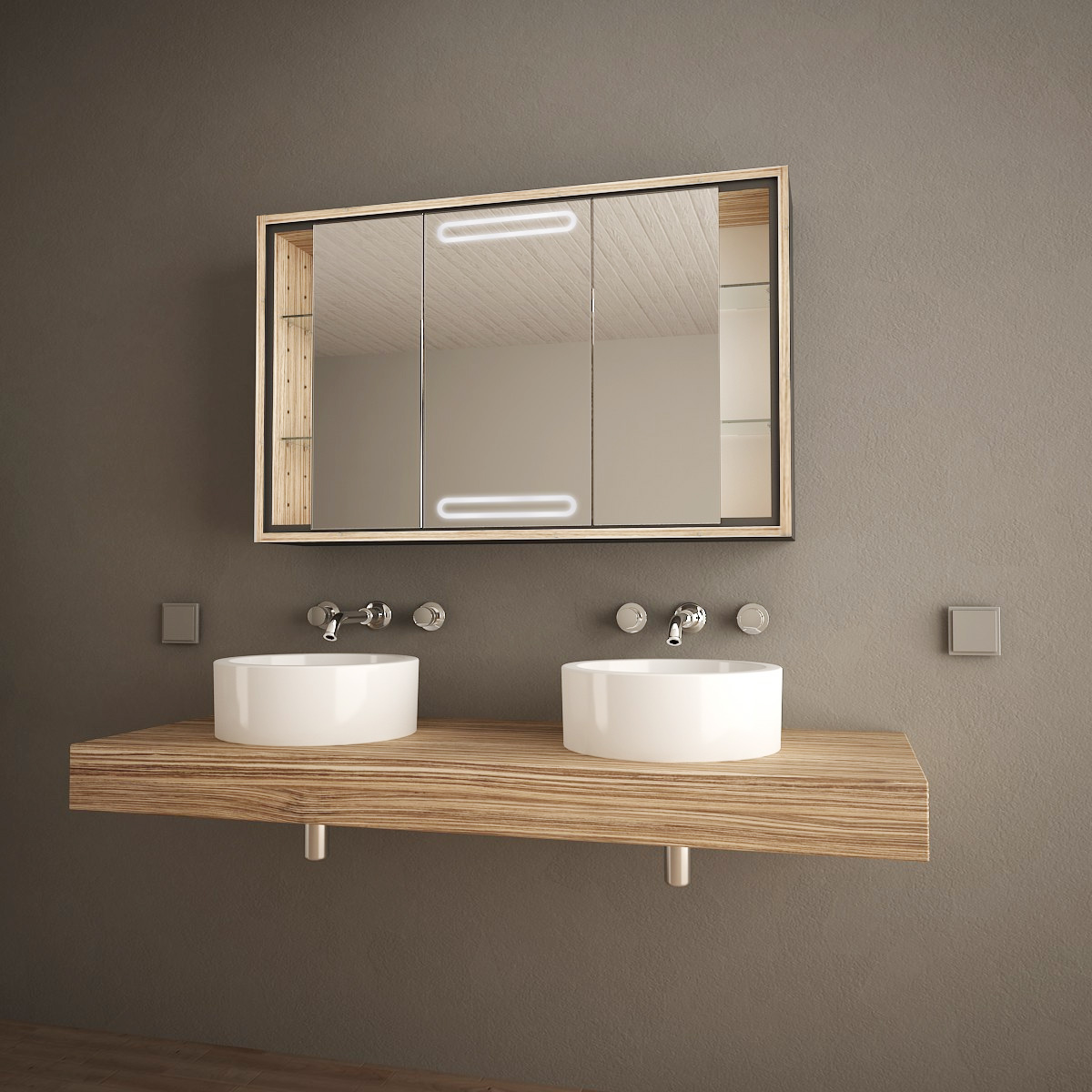 Exklusiver Spiegelschrank mit LED Locora