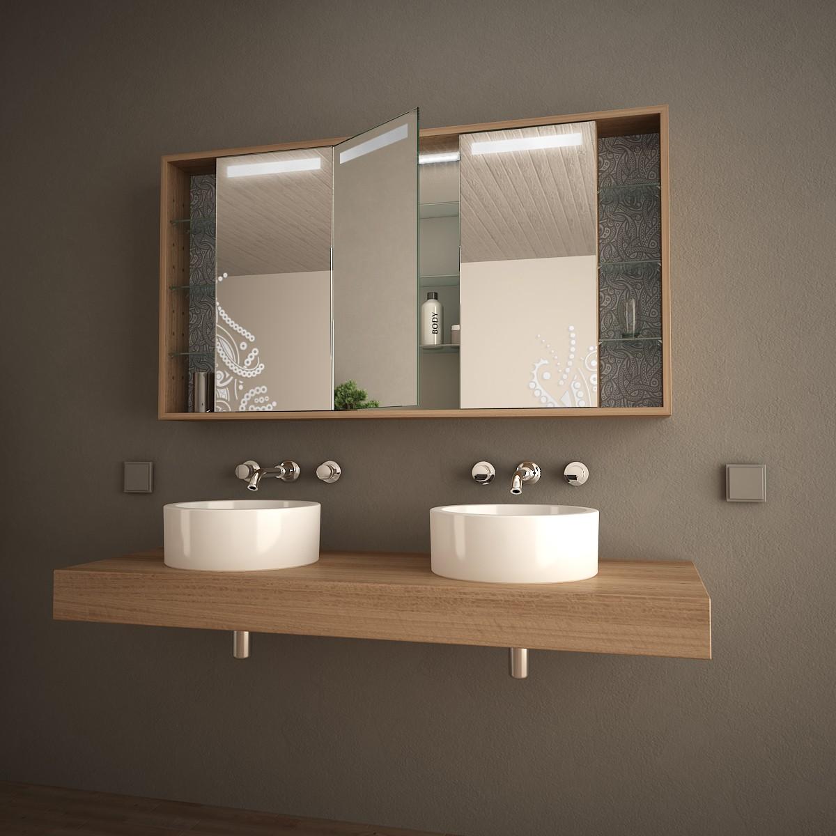 Bad spiegelschrank mit bedrucktem glas soraya 989705300 for Bad spiegelschrank gunstig