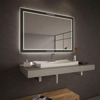 Teil-Lack-Wandspiegel Aruna beleuchtet – Bild 1
