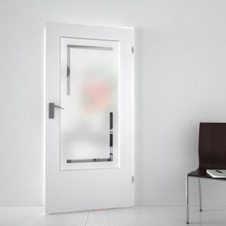 Produktbild 1 Lichtausschnitt satiniert mit Motiv Perra by Lionidas] - Simples Design für Ihre Zimmertür bekommen Sie mit dem Lichtausschnitt Perra.