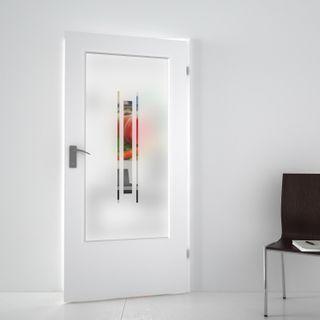 Produktbild 1 Lichtausschnitt satiniert mit Motiv Tolin  by Lionidas] - Mit diesem Lichtausschnitt bekommt Ihre Zimmertür wieder ein modernes Aussehen.