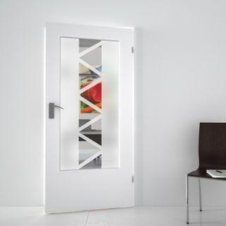 Produktbild 1 Lichtausschnitt satiniert mit Motiv Trigonalis by Lionidas] - Ihre Zimmertür wird mit dem Lichtausschnitt Trigonalis wieder zu einem echten Hingucker.