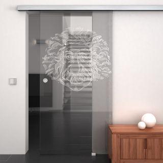 Produktbild 1 Glasschiebetür gelasert mit Motiv Olpe by Lionidas] - Mit der Glas-Schiebetür Olpe bekommen Sie ein echtes Kunstwerk und einzigartiges Designelement.