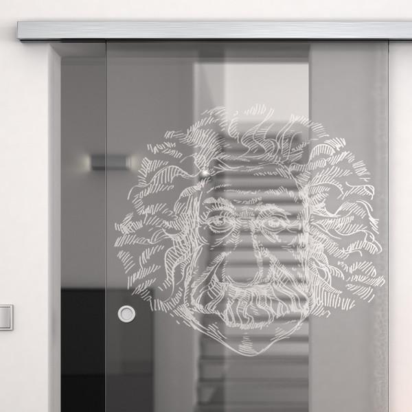 Produktbild 2 Glasschiebetür gelasert mit Motiv Olpe by Lionidas - Mit der Glas-Schiebetür Olpe bekommen Sie ein echtes Kunstwerk und einzigartiges Designelement.