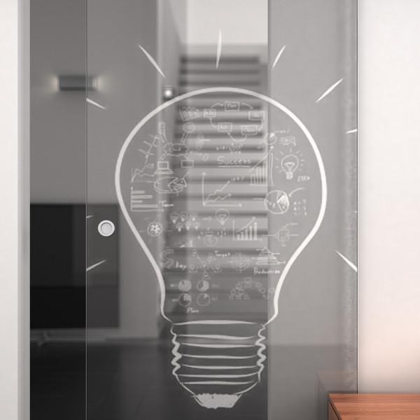 Produktbild 2 Glasschiebetür gelasert mit Motiv Kreative Idee by Lionidas - Mit der Glas-Schiebetür Kreative Idee wird Ihnen jedesmal ein Licht aufgehen.