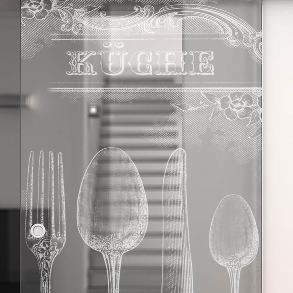 Glasschiebetür gelasert mit Motiv Retro Küche 989705806