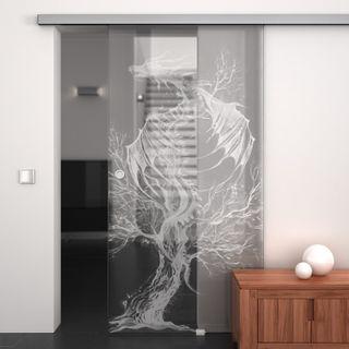 Produktbild 1 Glasschiebetür gelasert mit Motiv Drache by Lionidas] - Für Fantasy-Fans ist die Glas-Schiebetür Drache genau das richtige Designelement.