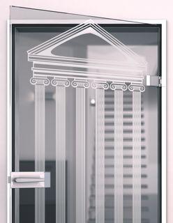 Glastür gelasert mit Motiv Tempel Detail