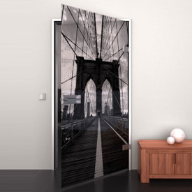Glastür lackiert mit Lasermotiv Brooklyn Bridge