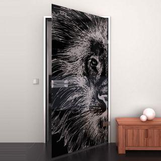 Produktbild 1 Glastür lackiert mit Lasermotiv Löwenkopf by Lionidas] - Die Lacobel-Glastür Löwenkopf wird Sie sicher in ihren Bann ziehen.