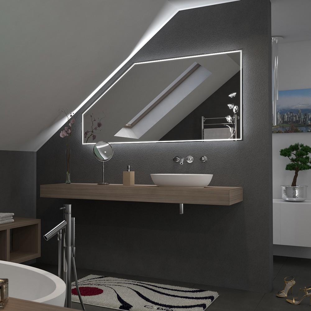 spiegel f r dachschr gen mit led beleuchtung tulipa 989706553. Black Bedroom Furniture Sets. Home Design Ideas