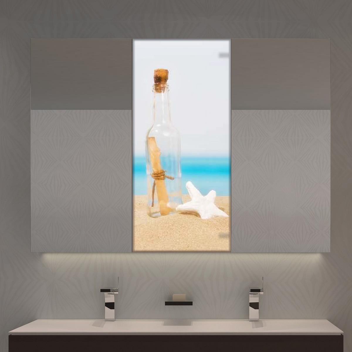Spiegelschrank mit LED Flaschenpost