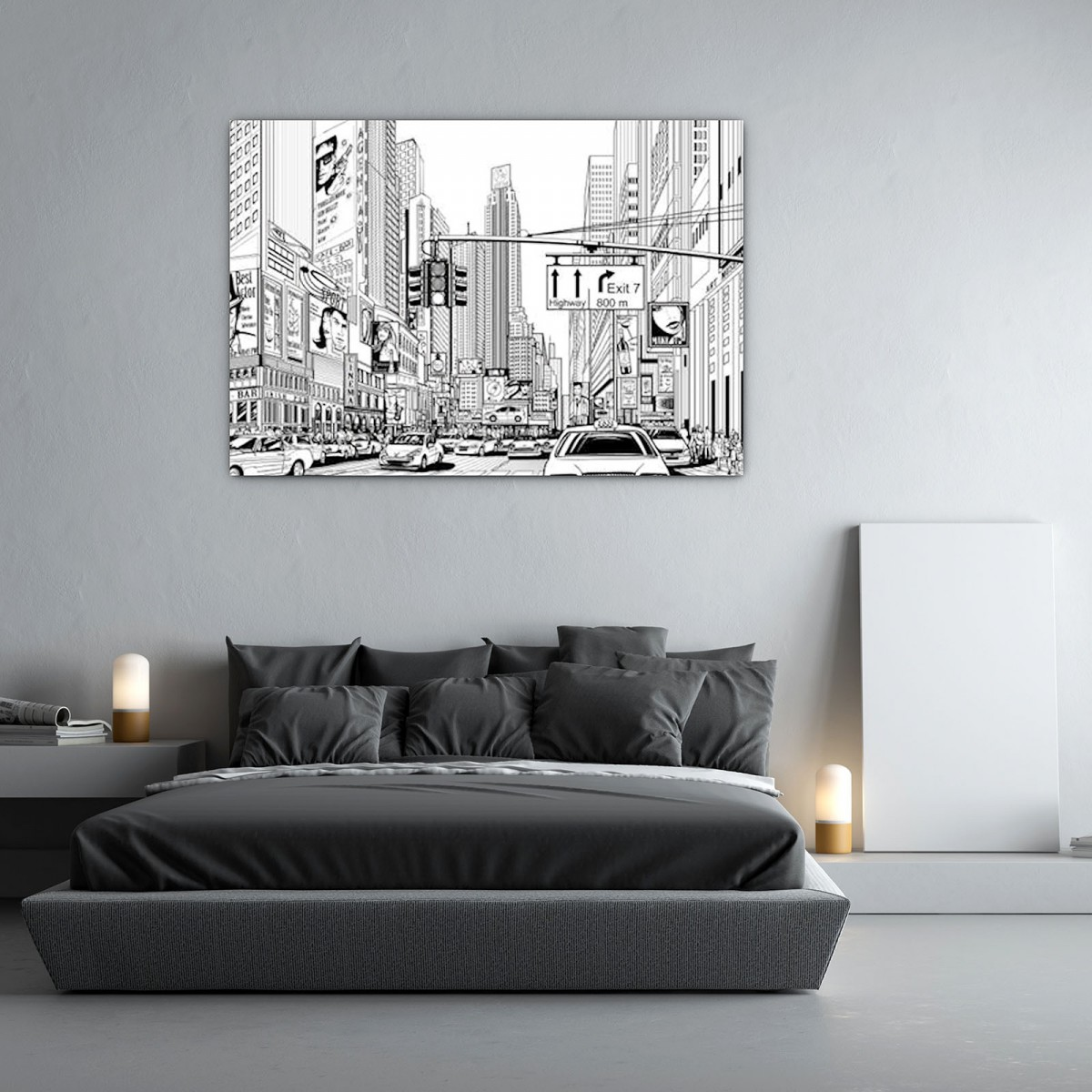 glasbild new york comic 989706818. Black Bedroom Furniture Sets. Home Design Ideas