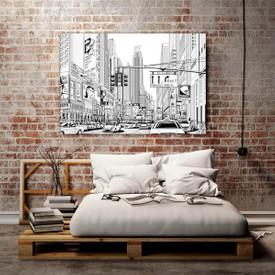 Glasbild New York Comic