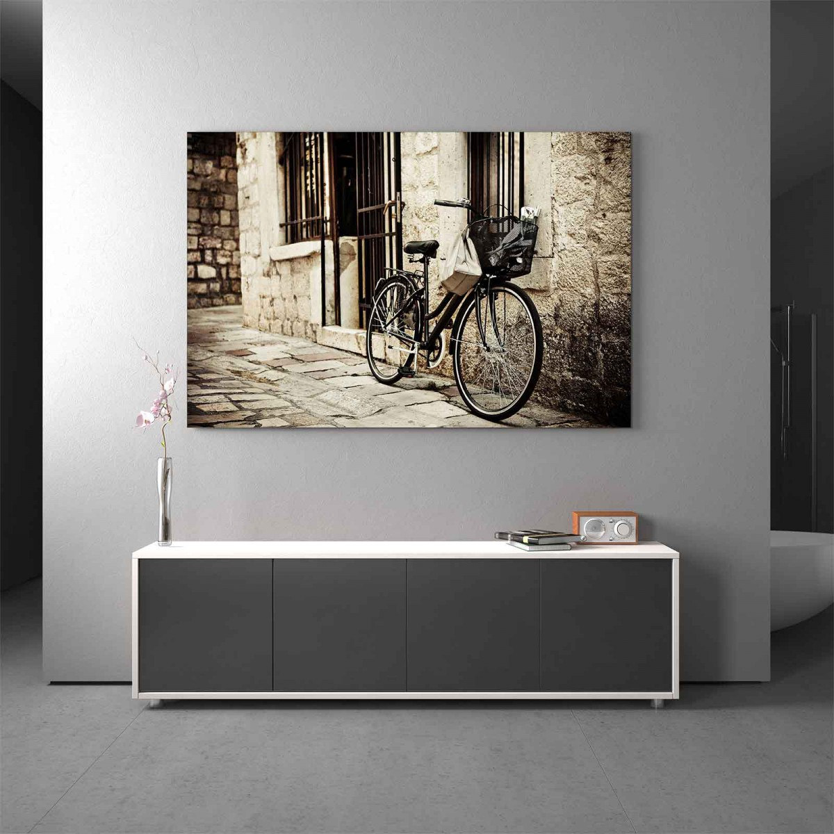 Glasbild Fahrradgasse