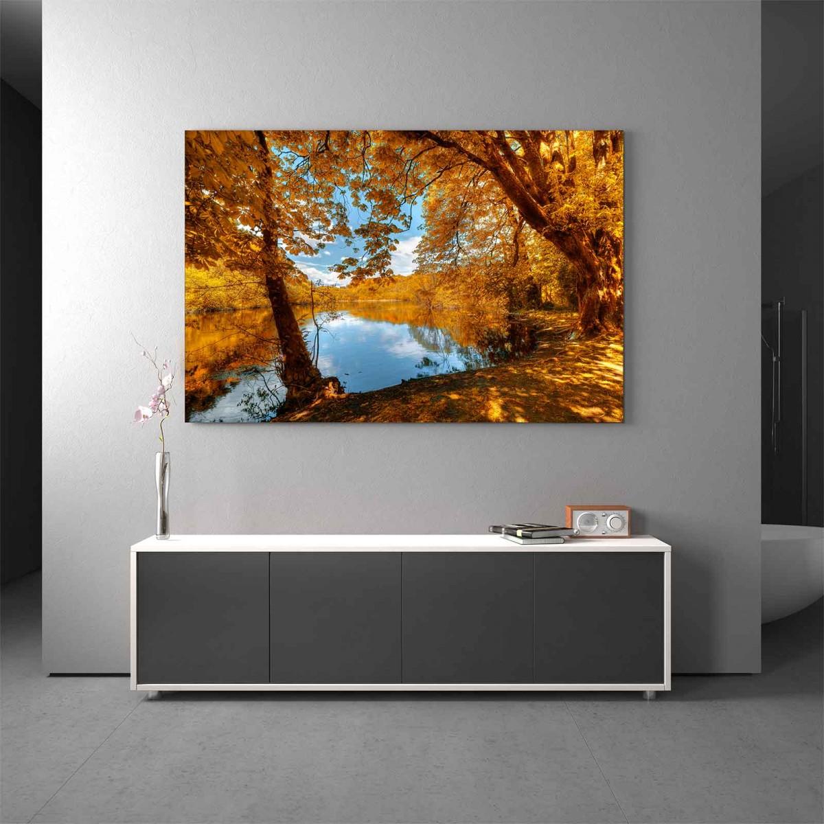 Glasbild Herbstzeit See
